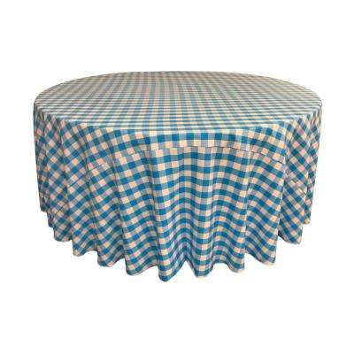 132 in. White and Turquoise Polyester Gingham Checkered Round Tablecloth