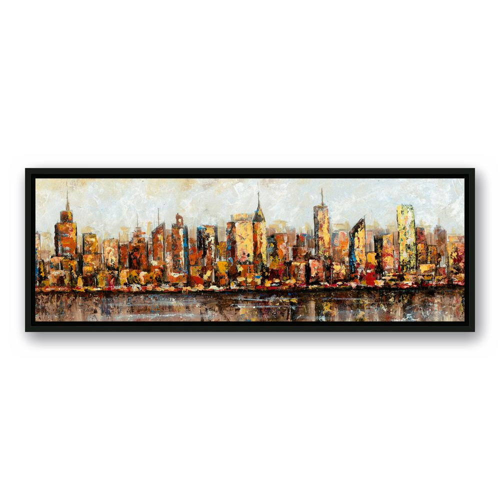 DESIGNS DIRECT 12 in. x 36 in. \'\'Painted Cityscape\'\' Printed Framed ...