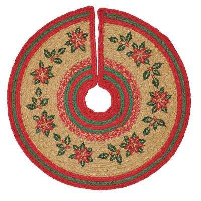 21 in. Poinsettia Natural Tan Holiday Christmas Decor Jute Mini Tree Skirt