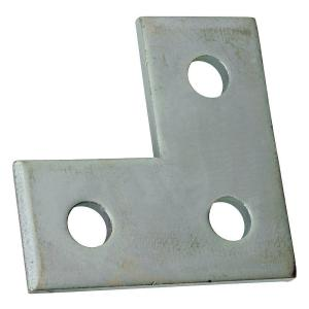 3-Hole Flat Corner Strut Bracket - Silver Galvanized (Case of 10)