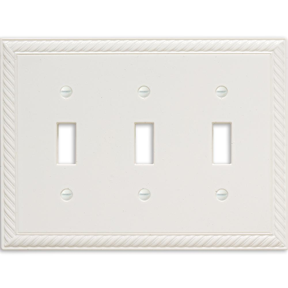 3-Gang Toggle Wall Plate, White