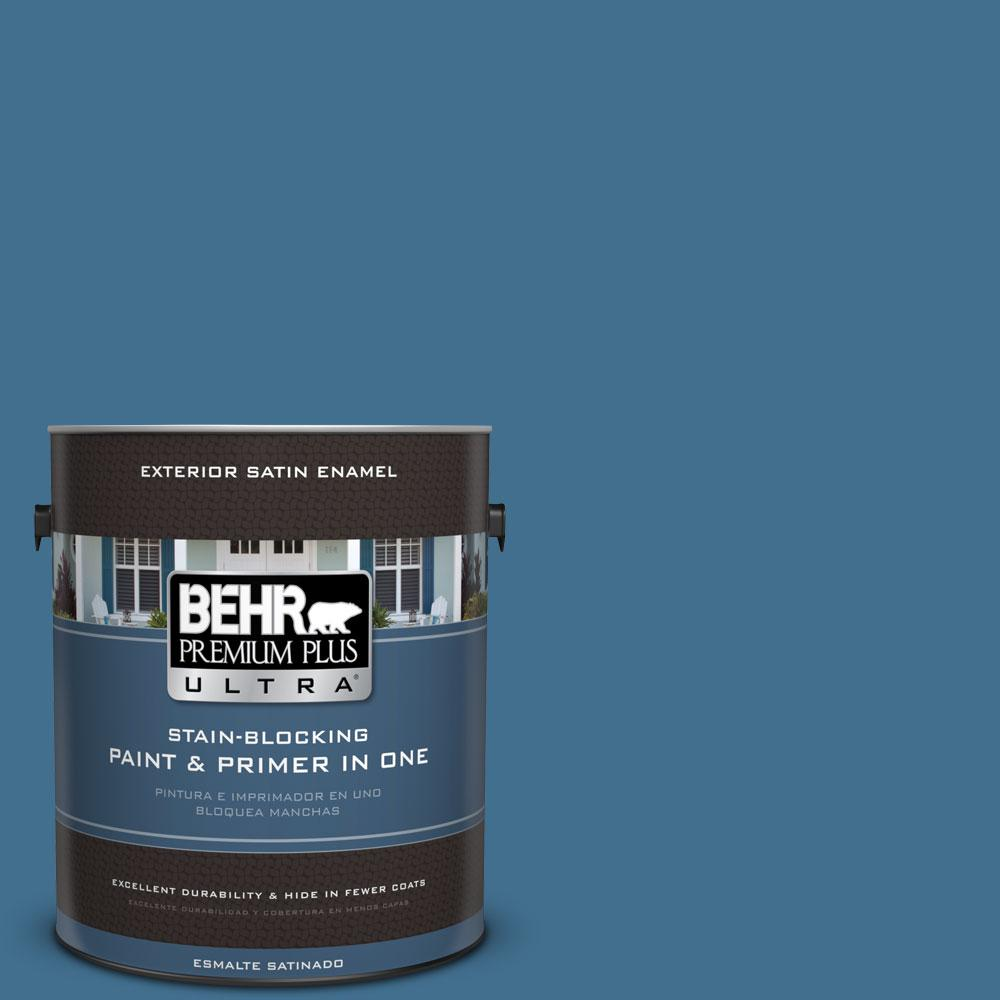 1-gal. #M500-5 Sojourn Blue Satin Enamel Exterior Paint
