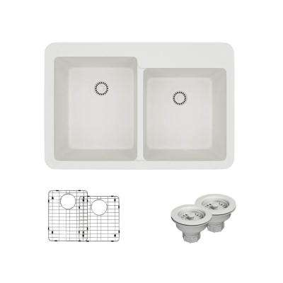 Drop-In Quartz 33 in. Offset Double Bowl Kitchen Sink in Ivory