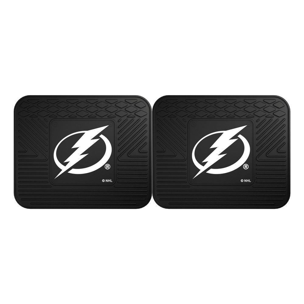 NHL Tampa Bay Lightning Black Heavy Duty 14 in. x 17 in. 2-Piece Vinyl Utility Mat