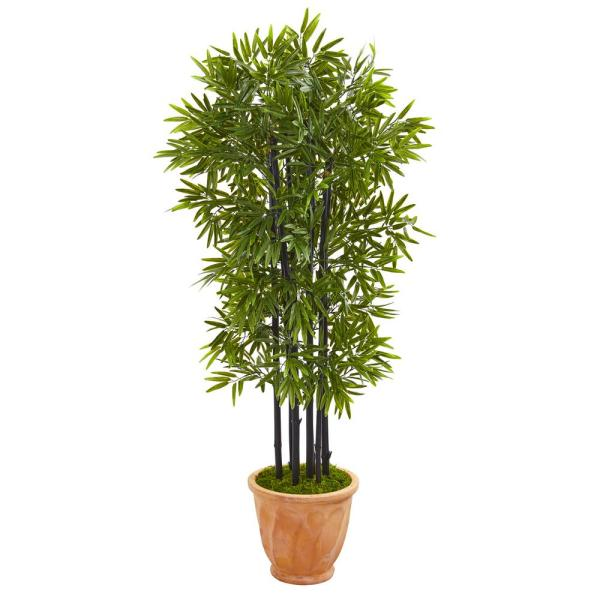 Indoor/Outdoor 5 ft. Bamboo Artificial Tree with Black Trunks in Terracotta Planter UV Resistant