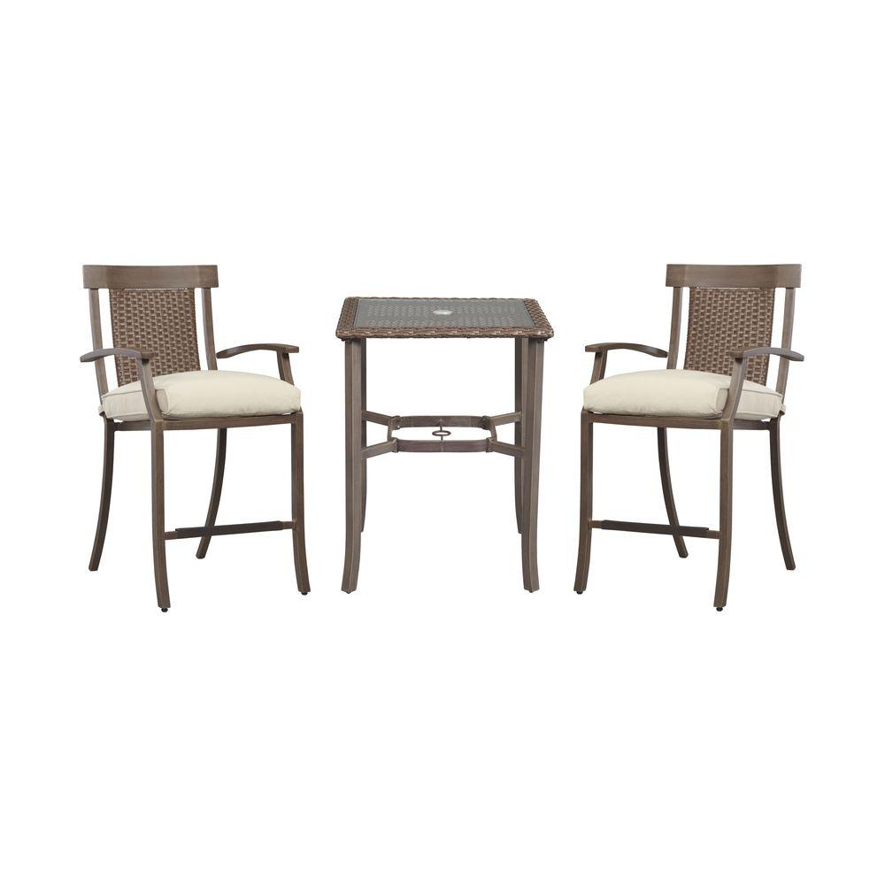 Hampton Bay Bloomfield 3-Piece Woven Patio Balcony Set with Custom Cushions