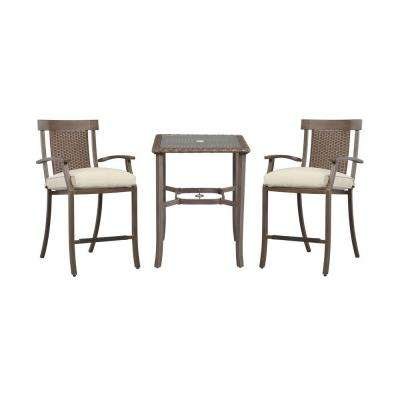 Bloomfield 3-Piece Woven Patio Balcony Set with Custom Cushions