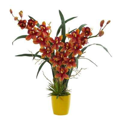 Indoor Cymbidium Orchid Artificial Arrangement in Yellow Vase