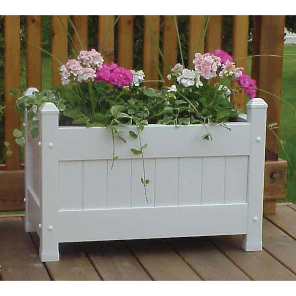 DuraTrel 28 in x 16 in White Vinyl Planter Box11124 The Home Depot