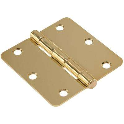 3-1/2 in. Brass Residential Door Hinge with 1/4 in. Round Corner (9-Pack)