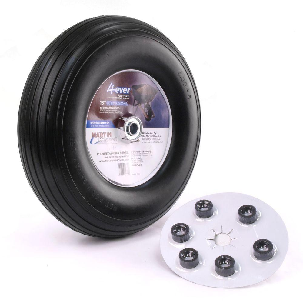 400-6 13 in. Flat Free Wheelbarrow/Garden Cart Wheel with Universal Hub