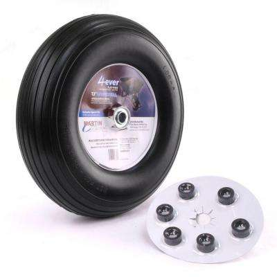 400-6 13 in. Flat Free Wheelbarrow/Garden Cart Wheel with Universal Hub 5/8 in. Ball Bearing