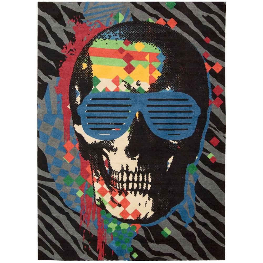Nourison Overstock Altered States Skull Grey 8 ft. x 10 ft. Area Rug