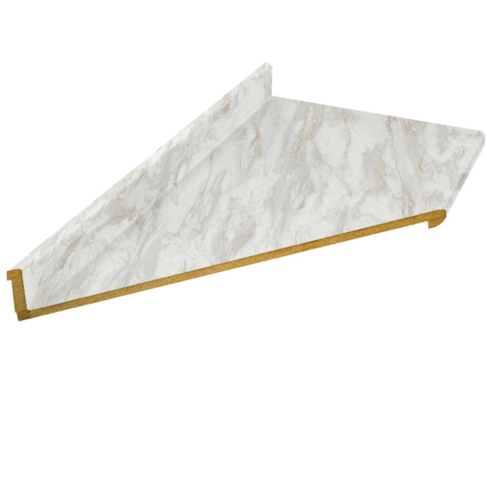 Hampton Bay 10 Ft Laminate Countertop With Left Miter In Drama Marble With Ora Edge And Integrated Backsplash 211349011095010 The Home Depot