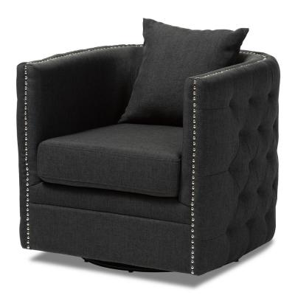 Micah Gray Fabric Swivel Chair