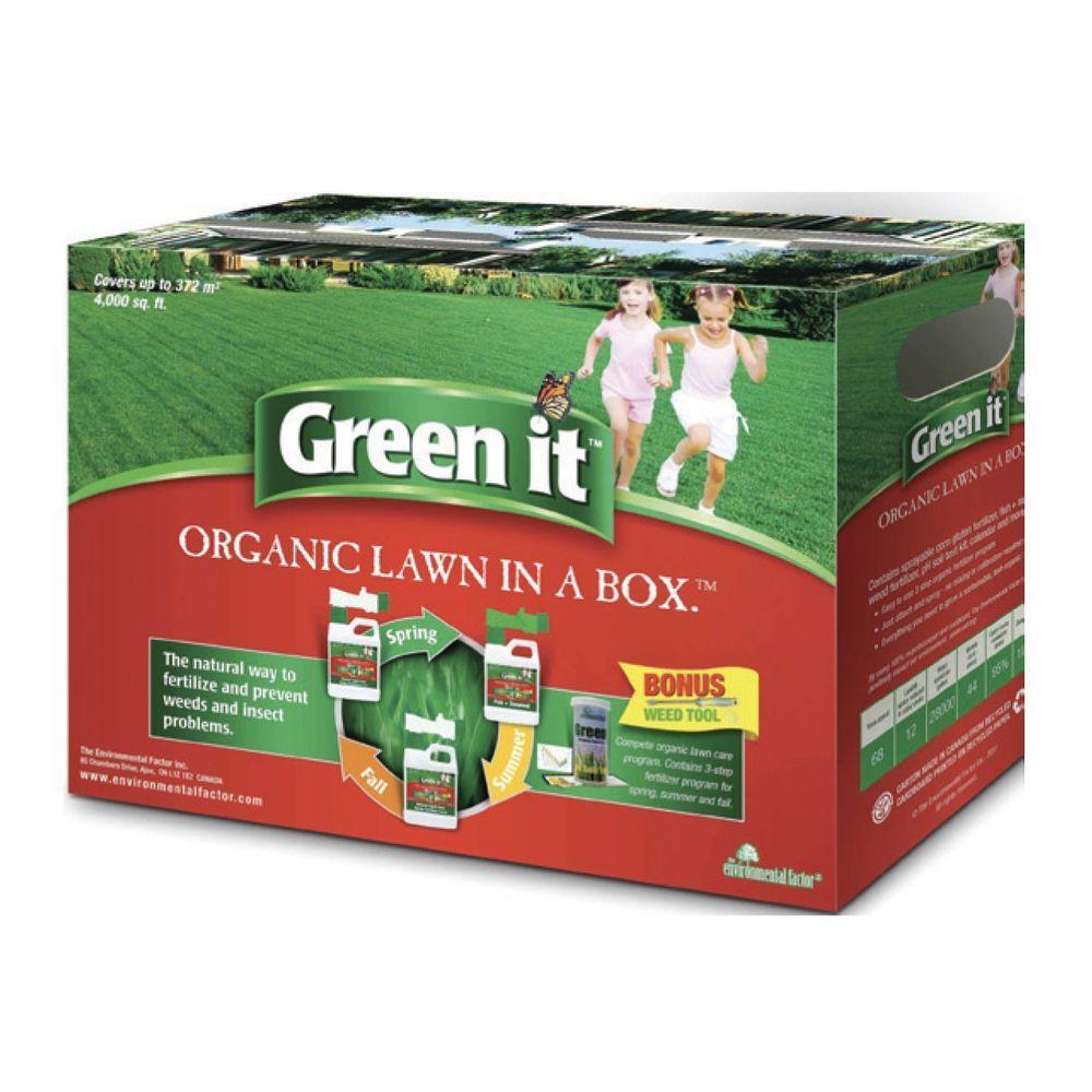 Green It Organic Lawn in a Box 2x4.4lb Liquid Corn Gluten(4-0-0) 1x4.4lb Fish & Seaweed(2-1-3) 3 season Lawn... by Green It