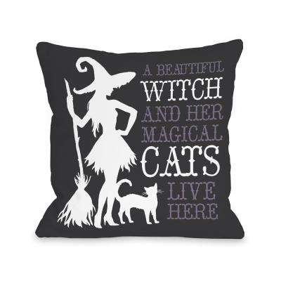 Beautiful Witch Gray 16 in. x 16 in. Decorative Pillow