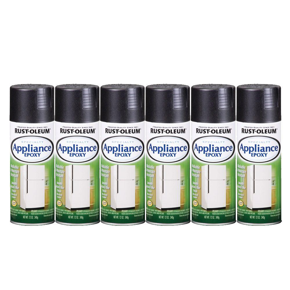 Rust-Oleum Stops Rust Specialty 12 oz. Gloss Black Appliance Epoxy Spray Paint (6-Pack)-DISCONTINUED