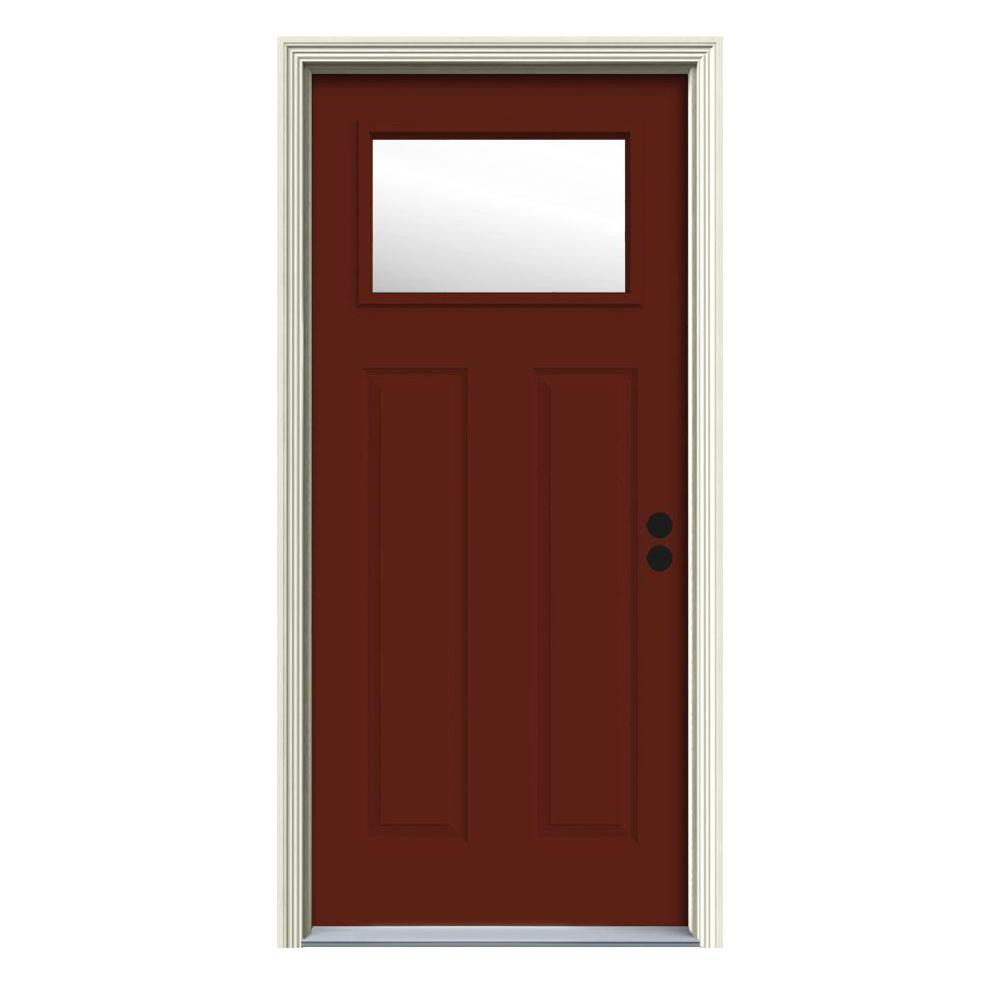 Jeld wen 32 in x 80 in 1 lite craftsman mesa red painted for Jeld wen front entry doors