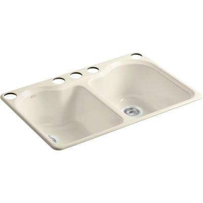 Hartland Undermount Cast Iron 33 in. 5-Hole Double Bowl Kitchen Sink in Almond