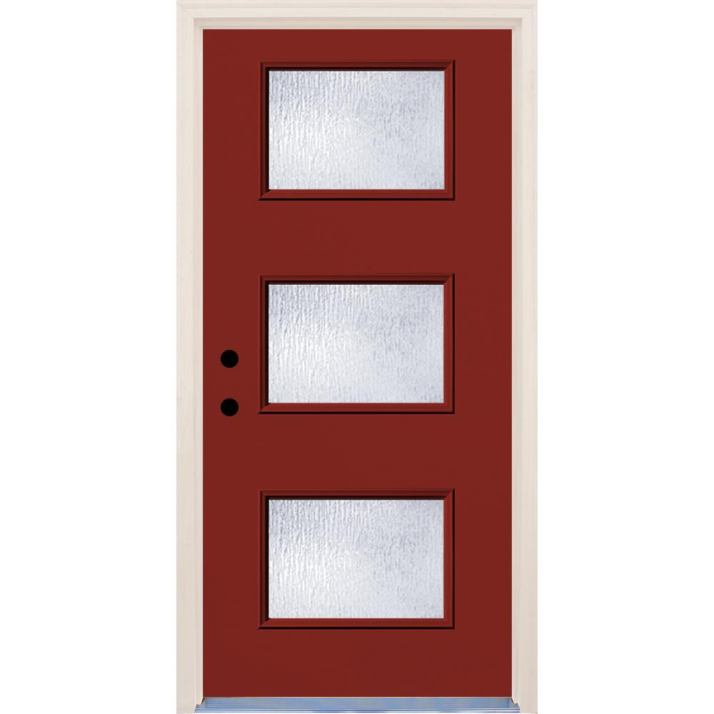 Builders Choice 36 in. x 80 in. Right-Hand Cordovan 3 Lite Rain Glass Painted Fiberglass Prehung Front Door with Brickmould
