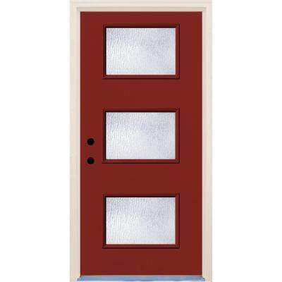 36 in. x 80 in. Right-Hand Cordovan 3 Lite Rain Glass Painted Fiberglass Prehung Front Door with Brickmould