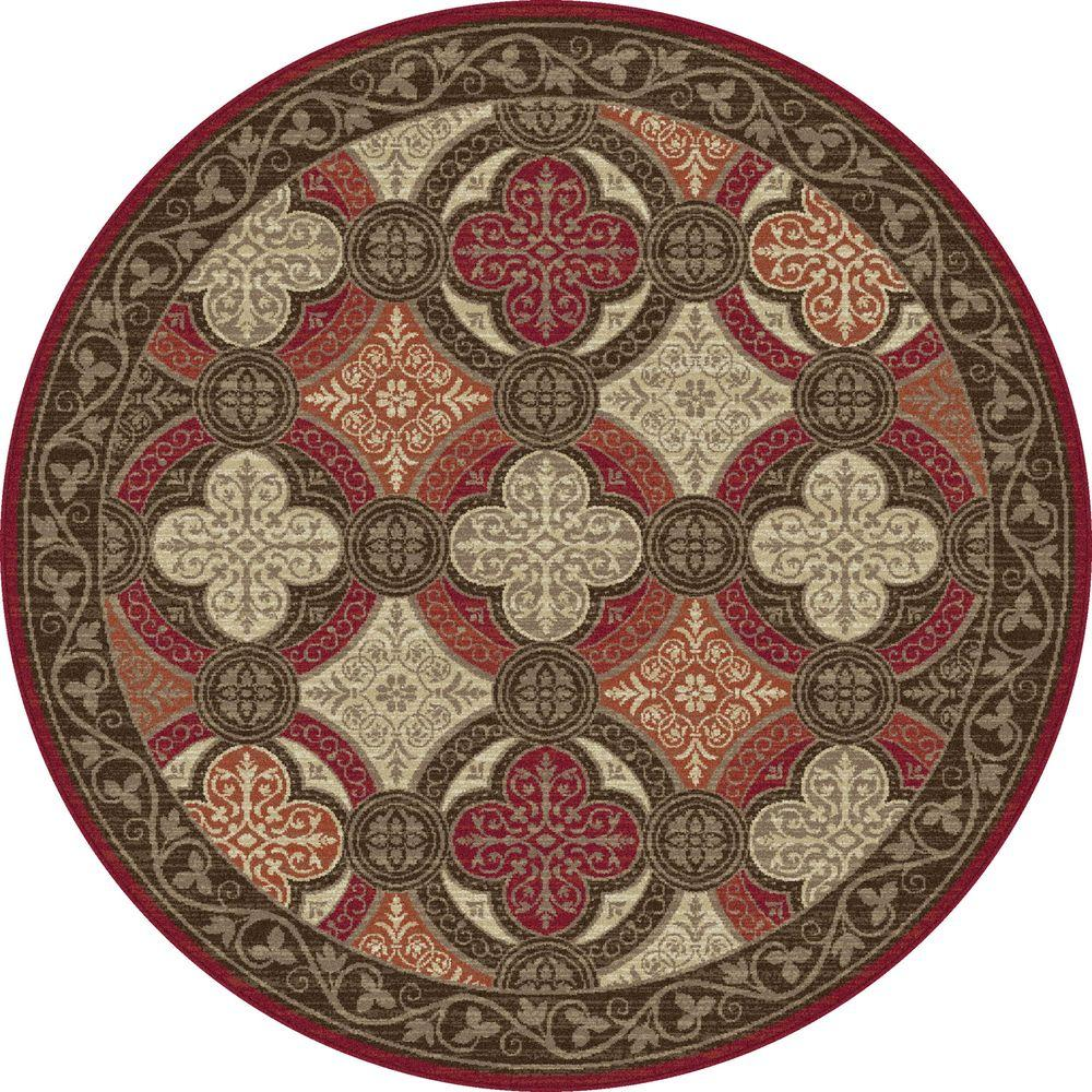 Tayse Rugs Capri Red 5 ft. 3 in. Transitional Round Area Rug