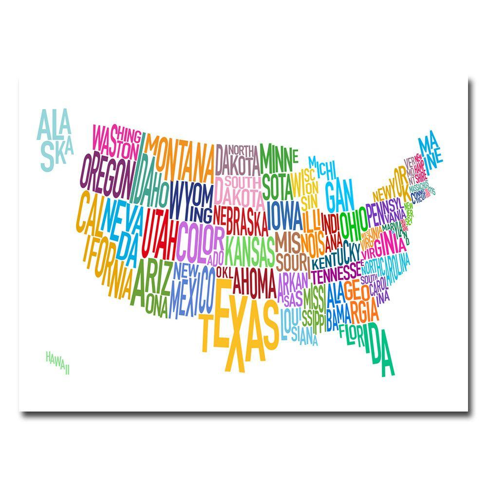 18 in. x 24 in. US States Text Map Canvas Art