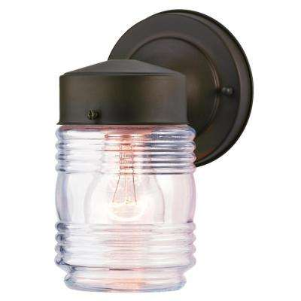 Oil Rubbed Bronze 1-Light Outdoor Jelly Jar Wall Mount Lantern