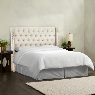 Gracee Linen Talc King Tufted Wingback Headboard with Brass Nail Buttons