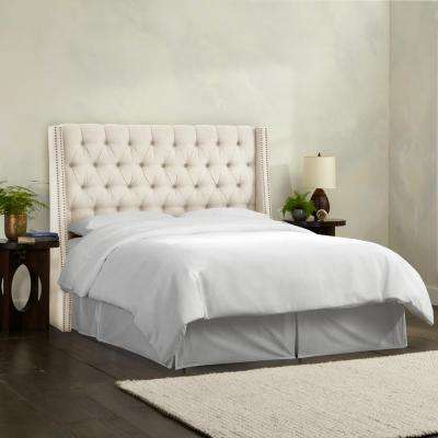 Queen Nail Button Tufted Wingback Headboard in Linen Talc