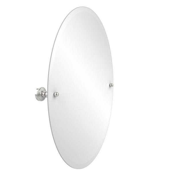 Waverly Place Collection 21 in. x 29 in. Frameless Oval Single Tilt Mirror with Beveled Edge in Polished Chrome