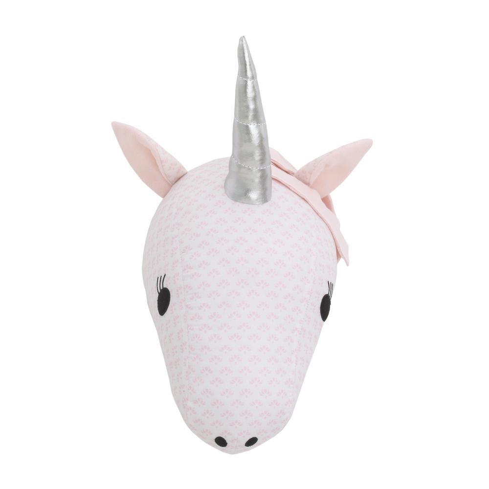 Pink and White Unicorn Plush Head Wall Decor