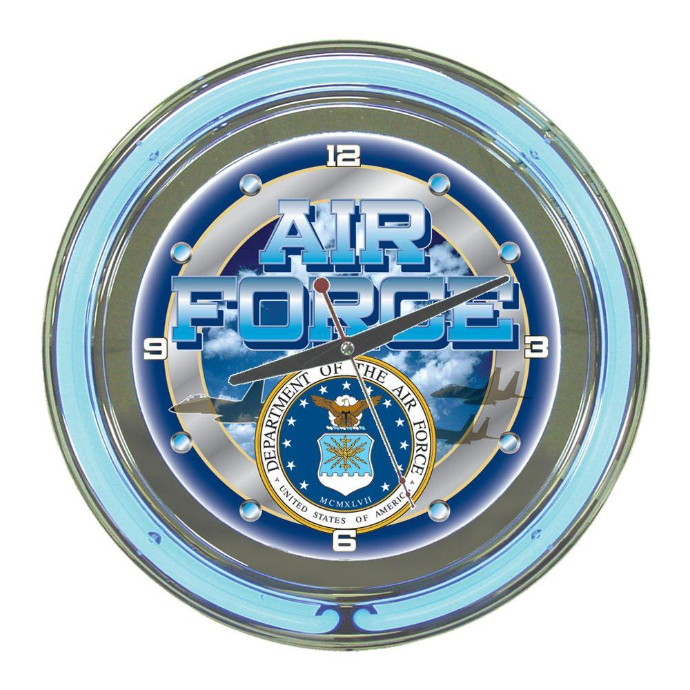 Trademark Global 14 in. United States Air Force Neon Wall Clock