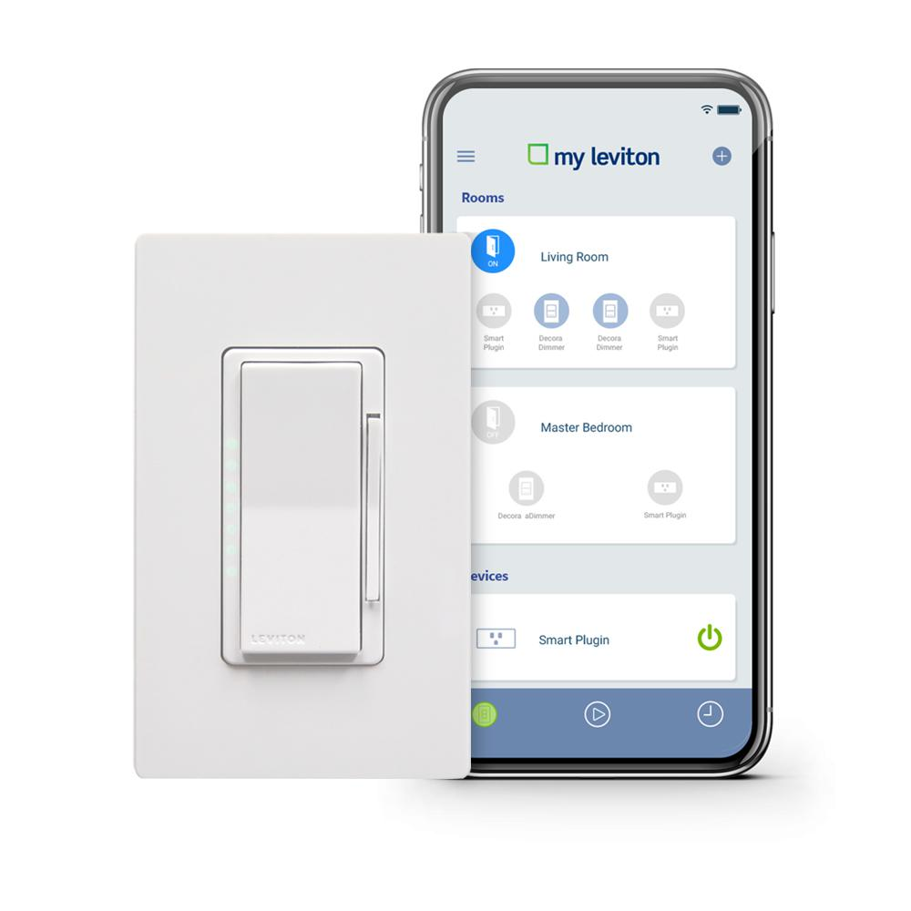 Leviton Decora Smart Wi-Fi 600W Incandescent/300W LED Dimmer, No Hub Required, Works with Alexa, Google Assistant and Nest