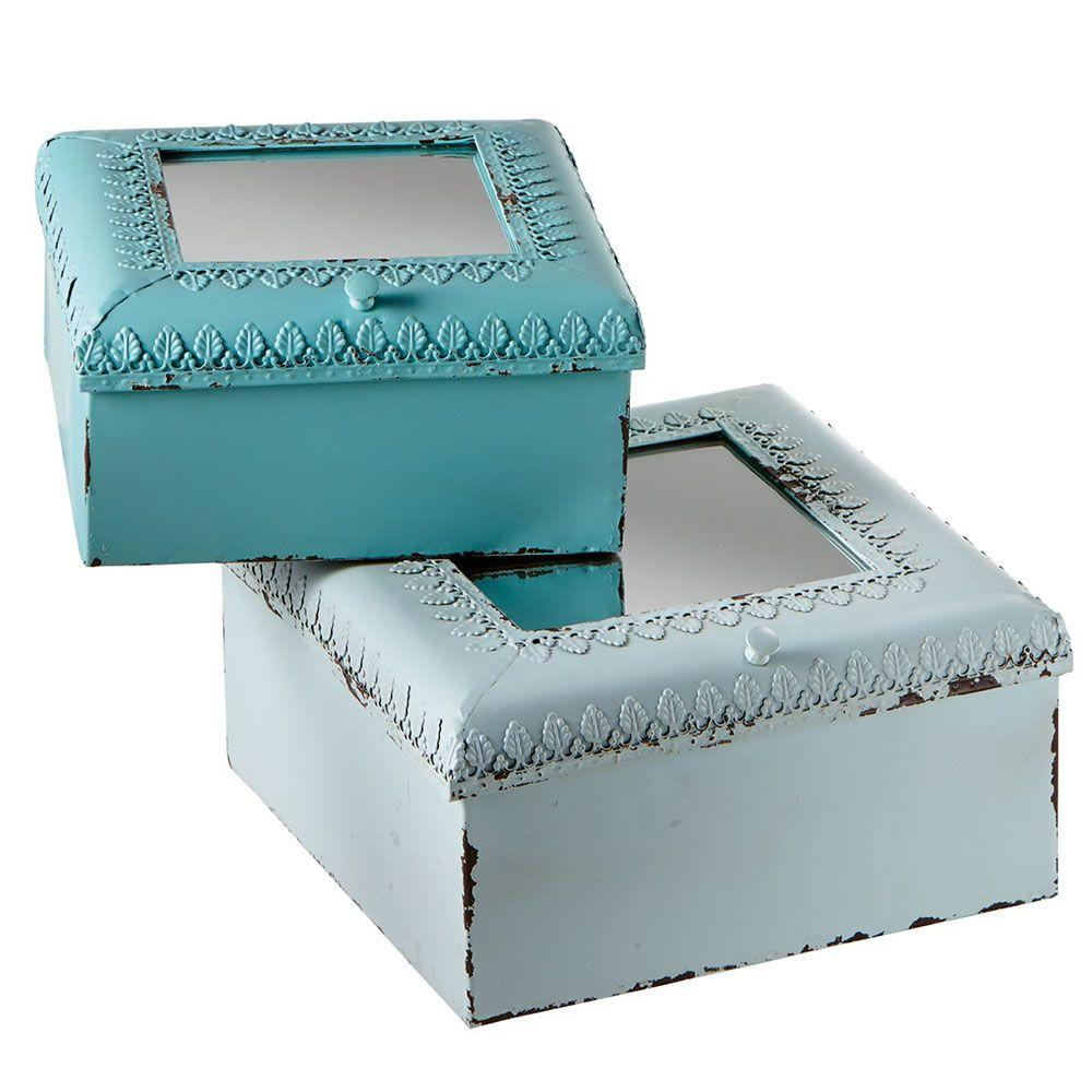 Filament Design Sundry 9.75 in. x 9.75 in. Metal Decorative Box (Set of 2)-DISCONTINUED