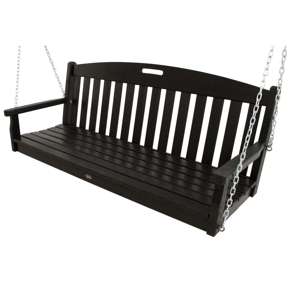 Trex Outdoor Furniture Yacht Club Charcoal Black Patio Swing - Trex Outdoor Furniture Yacht Club Charcoal Black Patio Swing-TXS60CB