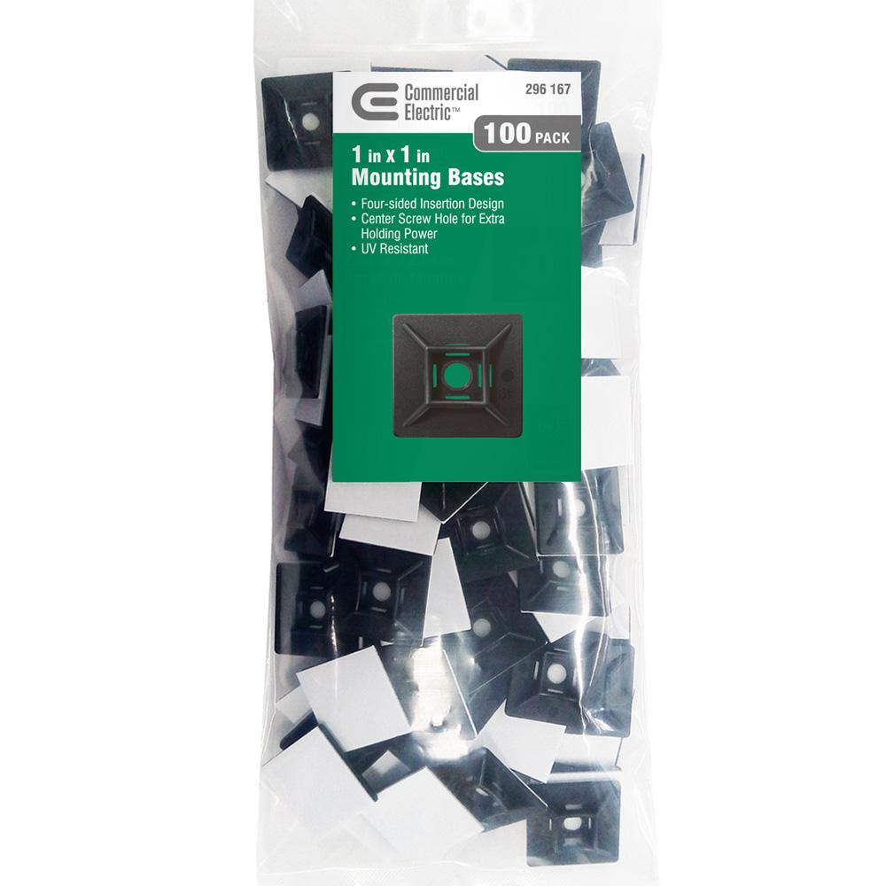 Commercial Electric 1 in. UV Mounting Base - Black (100-Pack)