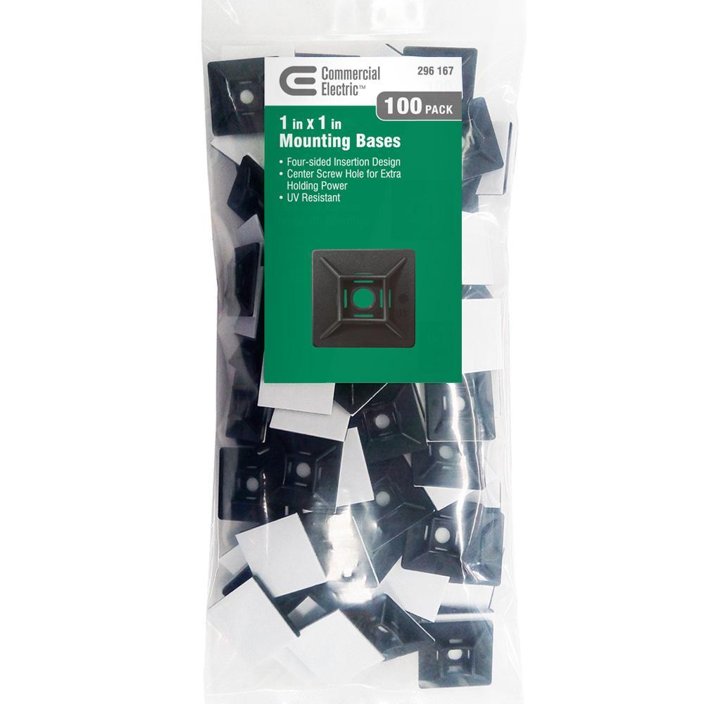 0.75 UV Black Super-Stick Cable Tie Mounts pack of 25
