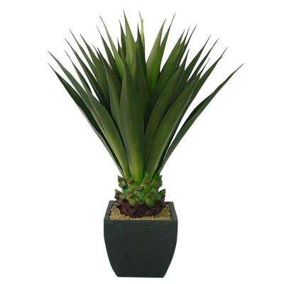 43 in. Tall High End Realistic Silk Giant Aloe Plant with Contemporary Planter