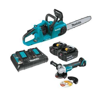18-Volt X2 LXT Lithium-Ion (36-Volt) Brushless Cordless 14 in. Chain Saw Kit (5.0Ah) and 4-1/2 in. Cut-Off/Angle Grinder