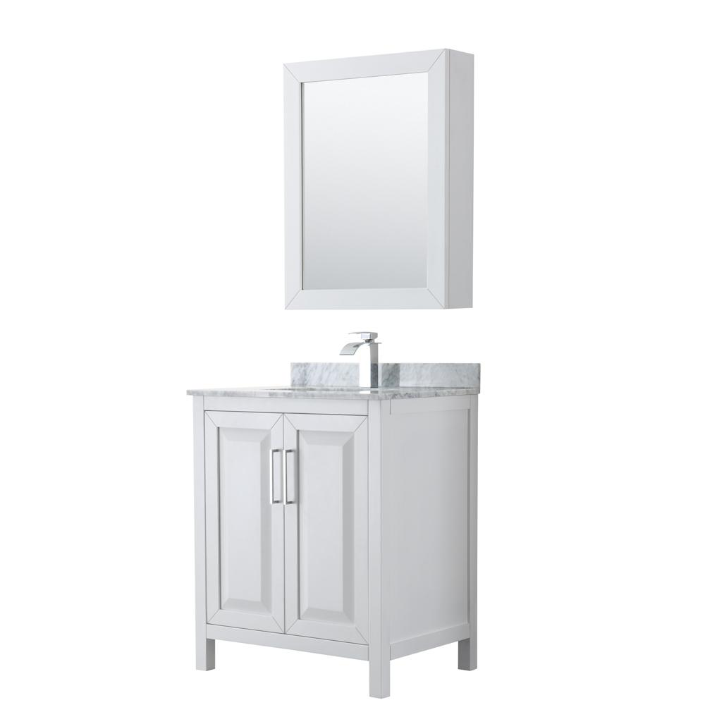 Wyndham Collection Daria 30 in. Single Bathroom Vanity in White with Marble Vanity Top in Carrara White and Medicine Cabinet