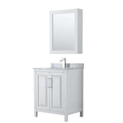 Daria 30 in. Single Bathroom Vanity in White with Marble Vanity Top in Carrara White and Medicine Cabinet
