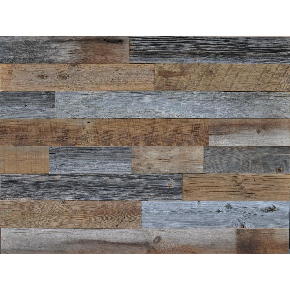 Reclaimed Wood Brown and Gray 3/8 in  Thick x 3 5 in  W x Varying Length  Solid Hardwood Wall Planks (20 sq  ft  / case)