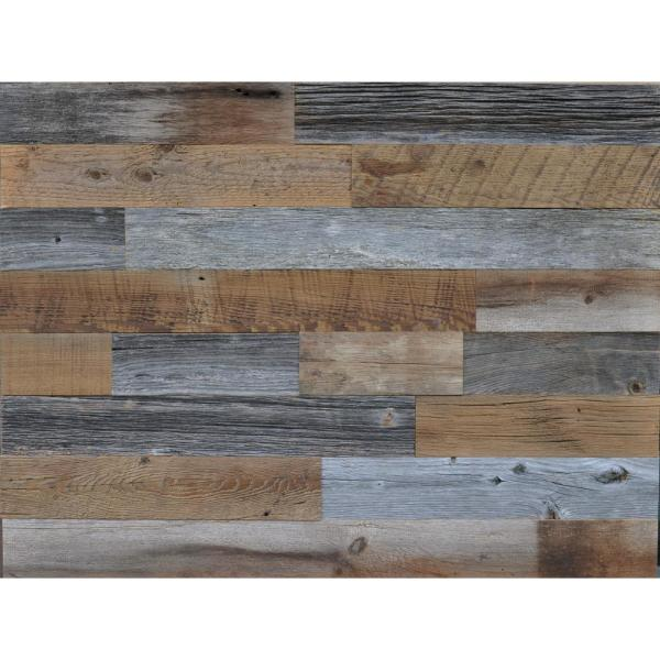 Reclaimed Wood Brown and Gray 3/8 in. Thick x 3.5 in. W x Varying Length Solid Hardwood Wall Planks (20 sq. ft. / case)
