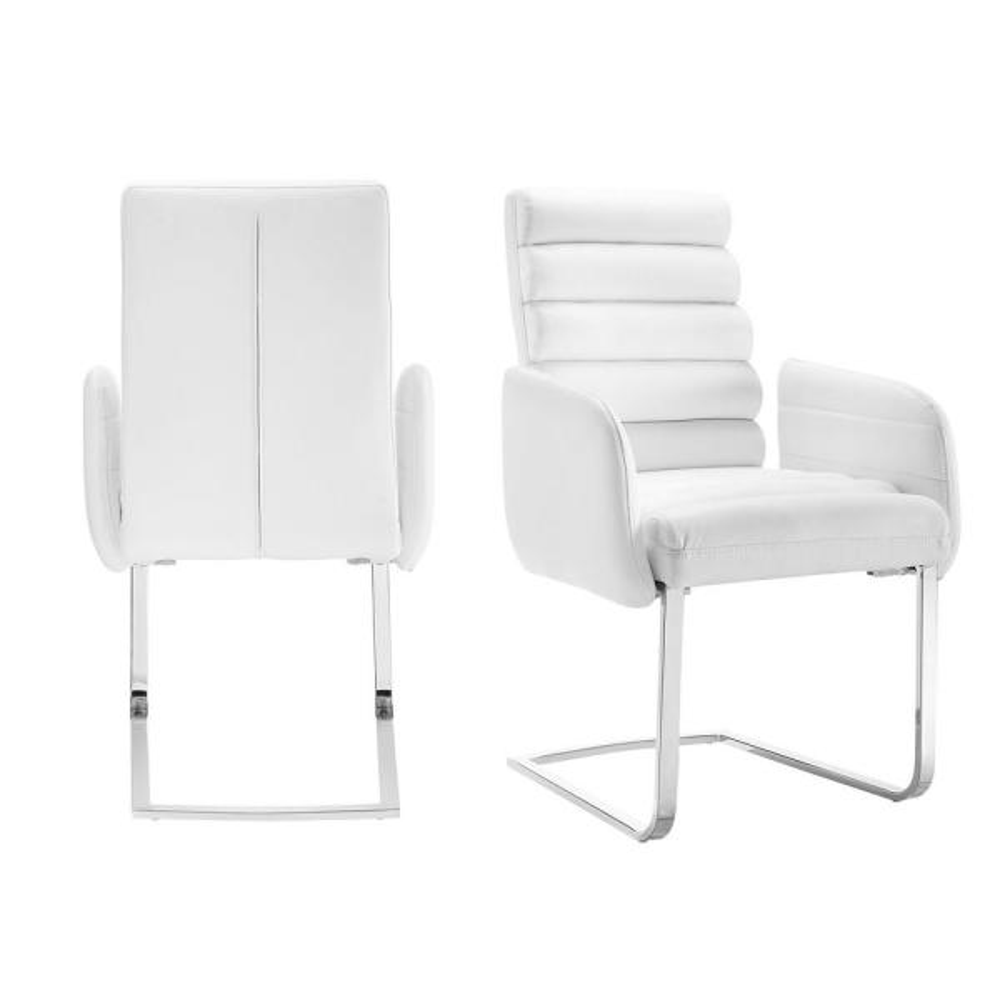 Soho White Modern Arm Chair (Set of 2)