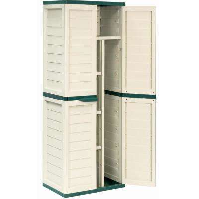2 ft. 5.5 in. x 1 ft. 8 in. x 4 ft. 1 in. Plastic Beige/Green Storage Cabinet w/ Vertical Partition and 4 Shelves