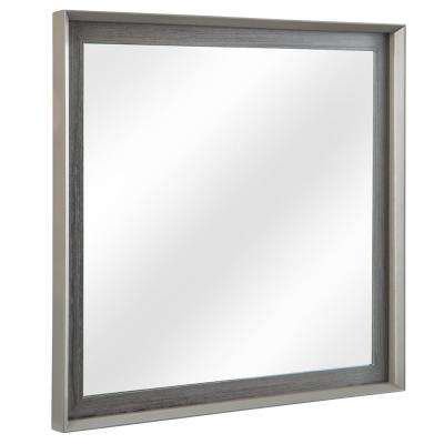 Garivaldi 32 in. W x 32 in. H Single Framed Wall Mirror in Grey Oak