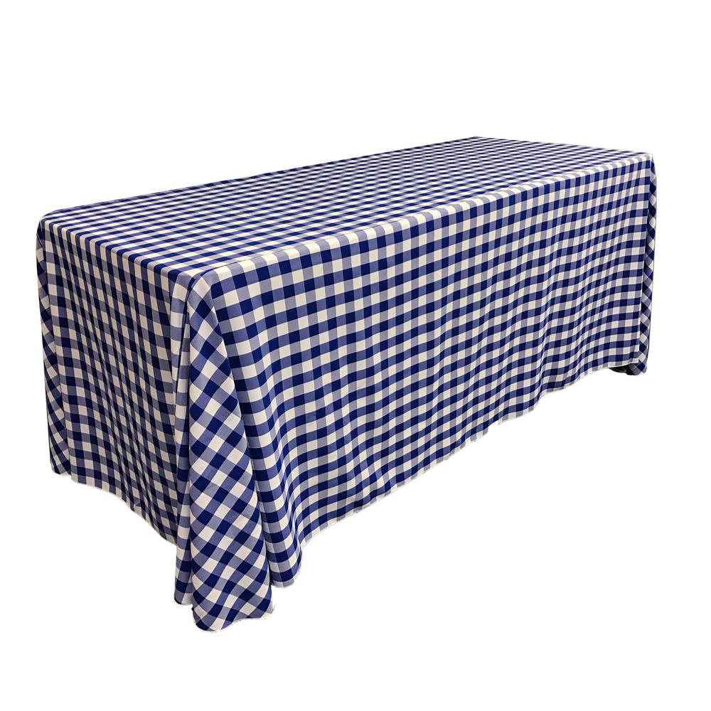 White And Royal Blue Polyester Gingham