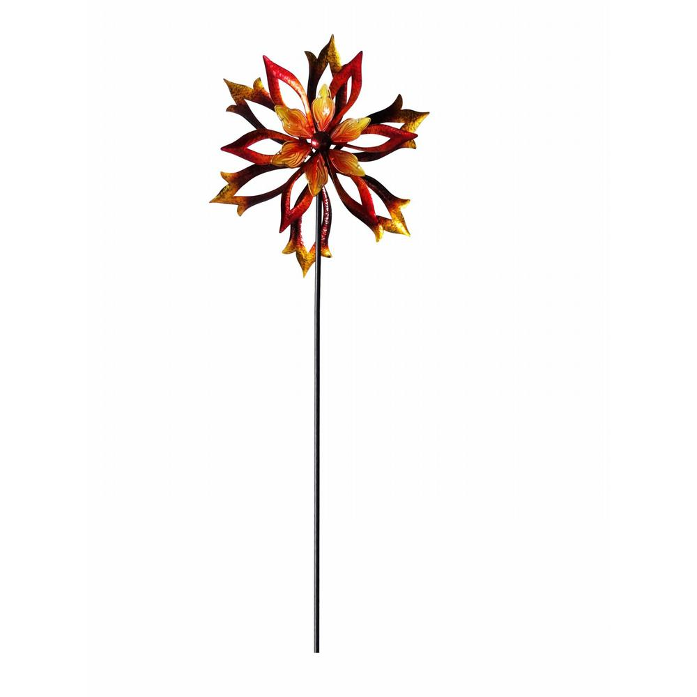 Alpine 96 in. Metal Double-Sided Flame Spinning Garden Stake